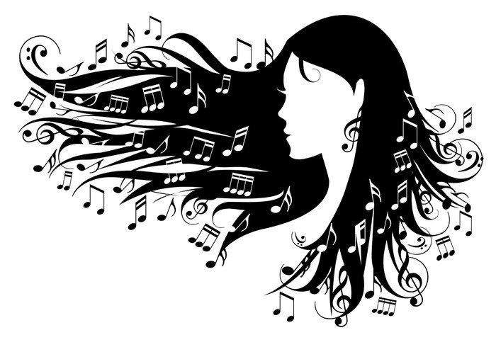 Pixerstick para Todas las Superficies Mujer con las notas musicales en el pelo, vector - Partes del cuerpo