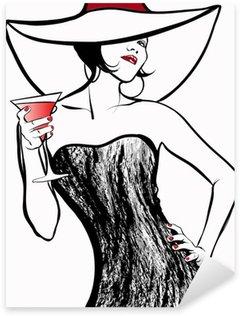 Pixerstick para Todas las Superficies Mujer con un sombrero de beber un cóctel
