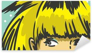 Pixerstick para Todas las Superficies Mujer de pelo flequillo asomándose hacia arriba, de la moda retro de fondo