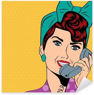 Pixerstick para Todas las Superficies Mujer hablando por teléfono, pop art illustration