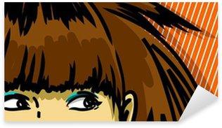 Pixerstick para Todas las Superficies Mujer joven que mira a escondidas de dibujo vectorial, despojado de fondo