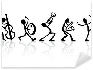 Vinilo Pixerstick Músicos tocando música de banda, ideal vector para camisetas