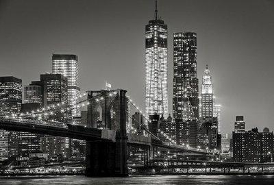 Pixerstick para Todas las Superficies Nueva York por la noche. Puente de Brooklyn, Bajo Manhattan - un Negro