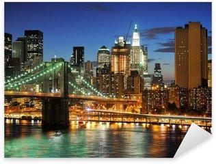 Pixerstick para Todas las Superficies Nueva York Puente de Manhattan después de la puesta del sol