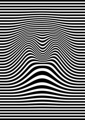 Pixerstick para Todas las Superficies Op arte abstracto patrón geométrico ilustración vectorial blanco y negro