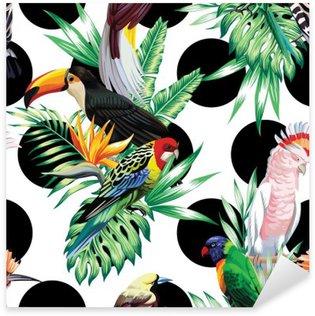 Vinilo Pixerstick Pájaros tropicales y hojas de palma patrón