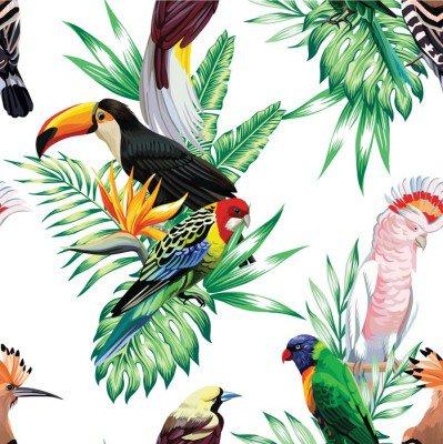 Pixerstick para Todas las Superficies Pájaros tropicales y hojas de palma patrón