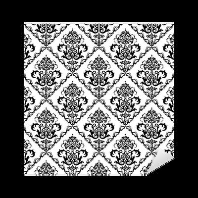 Vinilo pixerstick papel tapiz floral en blanco y negro for Papel vinilo blanco