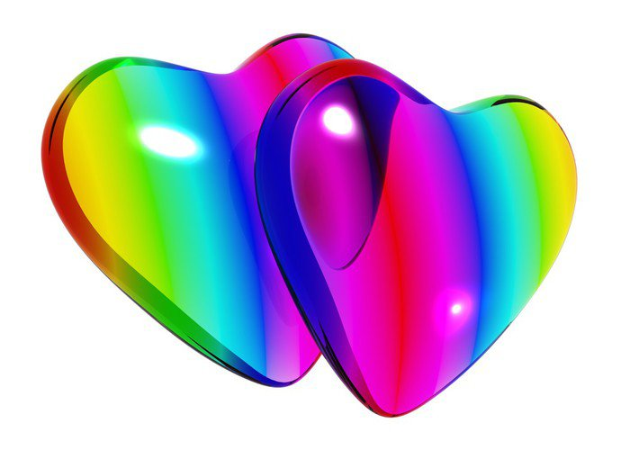 vinilo pixerstick par de corazones de cristal en colores del arco iris objetos de amor