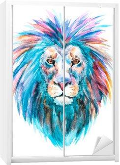 Vinilo para Armario Acuarela vector de león