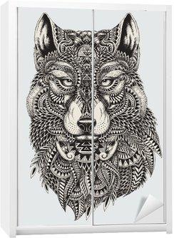 Vinilo para Armario Muy detallada lobo ilustración abstracta
