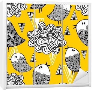 Vinilo para Armario Patrón transparente creativo con el pájaro del Doodle y del diseño.