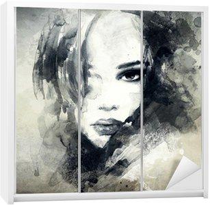 Vinilo para Armario Retrato de mujer abstracta