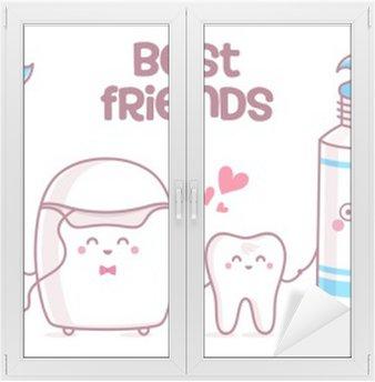 Vinilo para Cristal y Ventana Diente, pasta de dientes, hilo dental, cepillo de dientes