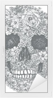 Vinilo para Cristal y Ventana Flor Vector Skull