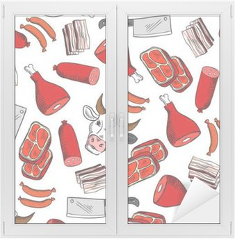 Vinilo para Cristal y Ventana La carne se corta patrón transparente para el diseño de carnicería