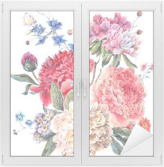 Vinilo para Cristal y Ventana Tarjeta de felicitación floral de la vendimia con flores peonías
