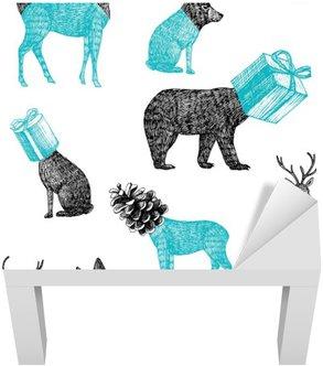 Vinilo para Mesa Lack Animales de invierno dibujados a mano de fondo sin fisuras