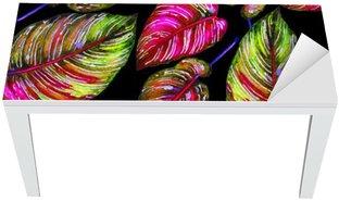Vinilo para Mesa y Escritorio Follaje tropical patrón transparente. Hojas de colores de plantas exóticas Calathea ornata sobre fondo negro, colores vibrantes. ejemplo de la acuarela hecha a mano.