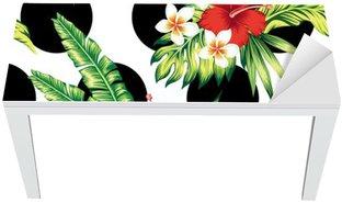 Vinilo para Mesa y Escritorio Hibisco y hojas de palma patrón