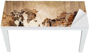 Vinilo para Mesa y Escritorio Mapa del mundo de madera, textura del vintage