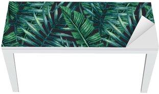 Vinilo para Mesa y Escritorio Palmera tropical de la acuarela deja patrón transparente. Ilustración del vector.