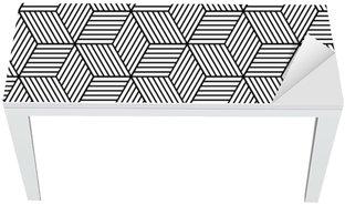 Vinilo para Mesa y Escritorio Patrón geométrico transparente con cubos.