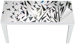 Vinilo para Mesa y Escritorio Resumen Árbol con pájaros de origami.