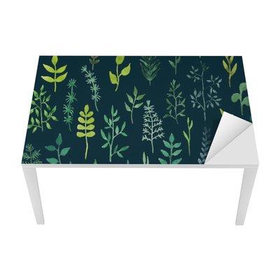 Vinilo para Mesa y Escritorio Vector de acuarela verde sin fisuras patrón floral.