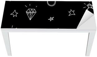 Vinilo para Mesa y Escritorio Vector patrón transparente con anillos de boda, estrellas y joyas. elementos antiguos del tatuaje de la escuela. estilo inconformista