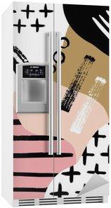 Vinilo para Nevera Escandinavo composición abstracta en rosa negro, blanco y colores pastel.