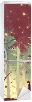 Vinilo para Nevera Hombre de pie en el bello bosque con las hojas que caen, pintura ilustración