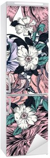 Vinilo para Nevera Modelo inconsútil hermoso con rosas y adornos dibujados a mano
