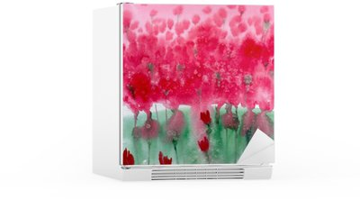 Vinilo para Nevera Pintura de acuarela. prado de fondo con flores rojas.