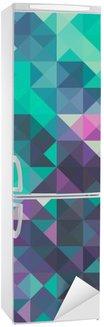Vinilo para Nevera Triángulo de fondo, verde y violeta