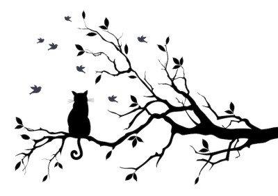 Vinilo para Pared Gato en un árbol con los pájaros, vector