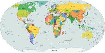 Vinilo para Pared Mapa mundial político del mundo, vector