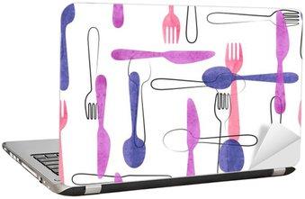 Vinilo para Portátil Modelo inconsútil de la acuarela de la cuchillería en colores rosa y morado. Vector de fondo con cucharas, tenedores y cuchillos.