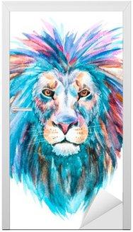 Vinilo para Puerta Acuarela vector de león