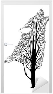 Vinilo para Puerta Aullido del lobo mezcla del árbol del dibujo tatuaje vector