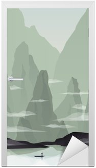 Vinilo para Puerta Ilustración vectorial paisaje sudeste asiático con rocas, acantilados y el mar. China o Vietnam promoción turística.