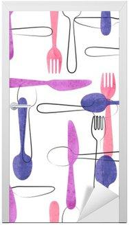 Vinilo para Puerta Modelo inconsútil de la acuarela de la cuchillería en colores rosa y morado. Vector de fondo con cucharas, tenedores y cuchillos.