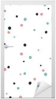 Vinilo para Puerta Patrón abstracto sobre fondo blanco con Negro y Gol