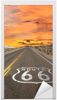 Vinilo para Puerta Ruta 66 Pavimento Entrar Amanecer Mojave Desert