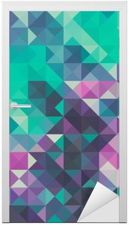 Vinilo para Puerta Triángulo de fondo, verde y violeta