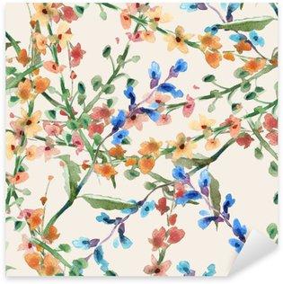 Vinilo Pixerstick Patrón de campo de flores sin fisuras