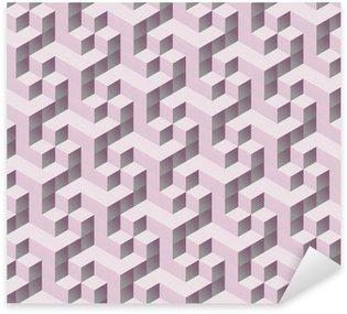 Vinilo Pixerstick Patrón de cubo transparente de color rosa 3D isométrico tilable