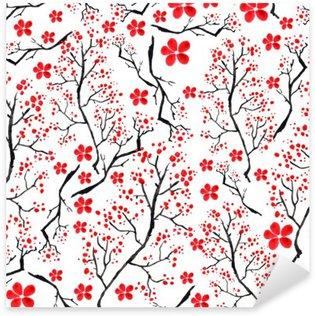 Vinilo Pixerstick Patrón de la vendimia de la acuarela - cerezas rama de decoración, cereza, plantas, flores, elementos. Puede ser utilizado en el diseño, envases, textiles y así sucesivamente.