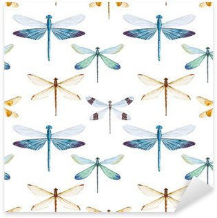 Vinilo Pixerstick Patrón de las libélulas de la acuarela