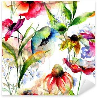 Vinilo Pixerstick Patrón sin fisuras con flores estilizadas